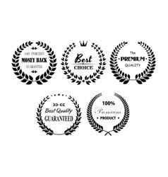 Set of premium and best laurel wreaths vector image