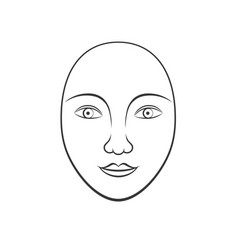 simple human face line art vector image vector image