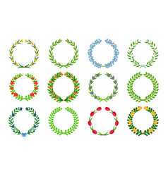 Spring green floral wreaths vector