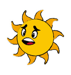 sun cartoon mascot character facial expression vector image