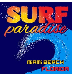 T-shirt surf paradise vector