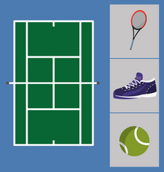 tennis court with sneakers and ball with racket vector image