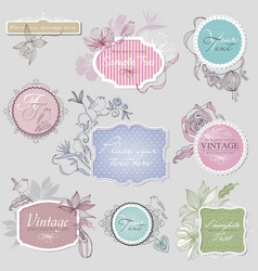 Vintage border set with birds vector image