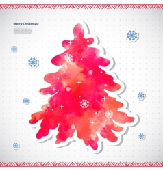 Watercolor Christmas with a pine tree vector image vector image