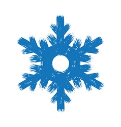 Winter hand drawn grunge brush stroke snowflake vector image