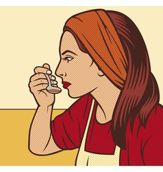 woman in the kitchen pop art vector image
