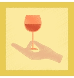 Flat shading style icon glass of wine vector