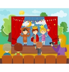 Children in costumes performing theater vector