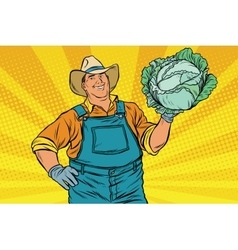 Rural retro farmer and a head of green cabbage vector