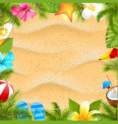 Creative poster with palm leaves beach ball vector