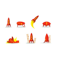 Red ufo aircraft and rocket set color vector