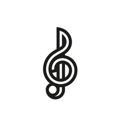 Treble clef icon on white background vector