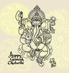 Hindu god ganesha hand drawn vector