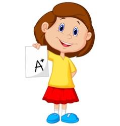 Girl cartoon showing a plus grade vector