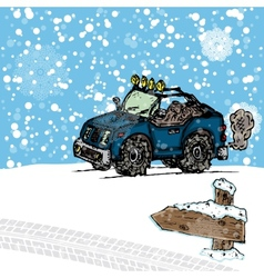 Winter SUV sketch vector image