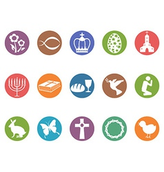 Easter day button icons set vector