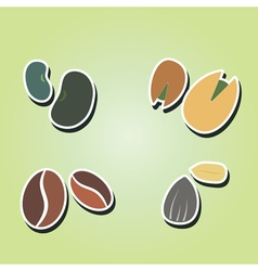 Color icons with beans and nuts vector
