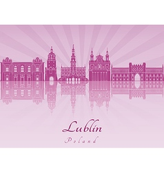 Lublin skyline in purple radiant orchid vector