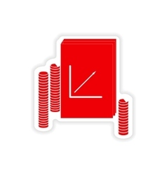 Stylish sticker on paper report and coins vector