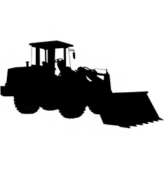 Wheeled loader silhouette vector