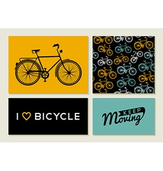 Bike outline concept set retro pattern label text vector