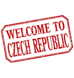 Czech republic - welcome red vintage isolated vector