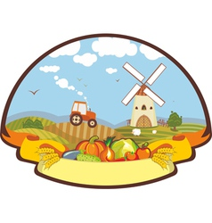 Label farm harvest mill tractor vector