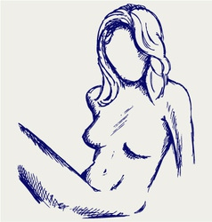 Beautiful young nude woman vector