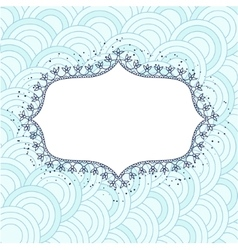 Background with banner flowerframe blue vector image vector image