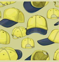 Baseball cap set pattern vector