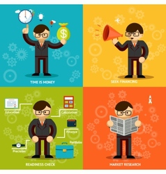Businessmen icons in variety colored backgrounds vector