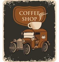 Car and cup of coffee on roof vector