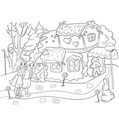 Childlike coloring story scene with pair of vector