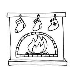 Christmas fireplace on white background vector