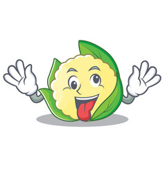 crazy cauliflower character cartoon style vector image vector image
