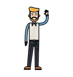 Drawing beard man greeting with hand up vector