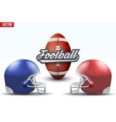 Football ball and helmets vector image vector image