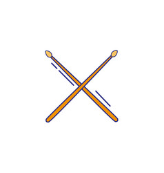 full color drumstick object of wooden to play drum vector image