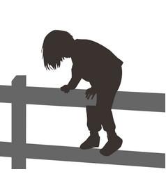 girl climbing a wooden fence vector image vector image