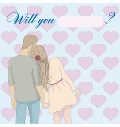 Greeting card will you marry me with couple vector