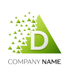 Letter d logo symbol in colorful triangle vector