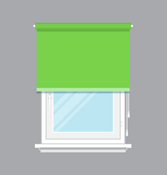 plastic window with green roller blind vector image vector image