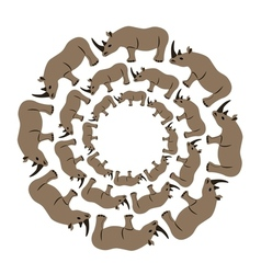 Rhinos in circle vector