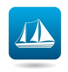 Sailboat with two masts icon flat style vector