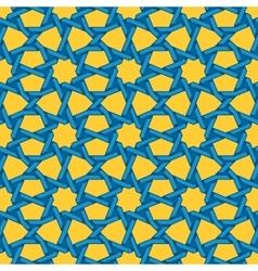 Seamless blue yellow islamic interlacing vector