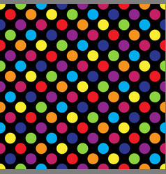 seamless colorful polka dot pattern on black vector image vector image
