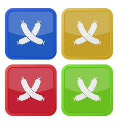 set of four square icons with sausage vector image vector image