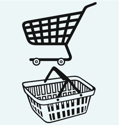 Shopping supermarket cart and plastic basket vector image