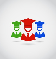 Smiling Guys in Graduation Cap Colorful Pictograms vector image vector image