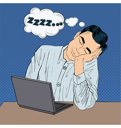 Tired Sleeping Businessman at Work Pop Art Style vector image vector image